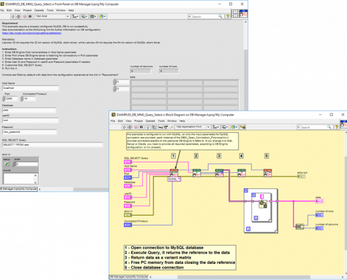 Labview database connection oracle mysql