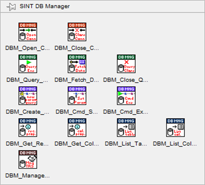 Sint db manager Labview database sql